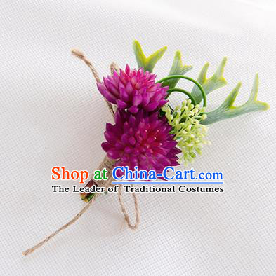 Top Grade Classical Wedding Succulents Flowers,Groom Emulational Corsage Groomsman Purple Brooch Flowers for Men