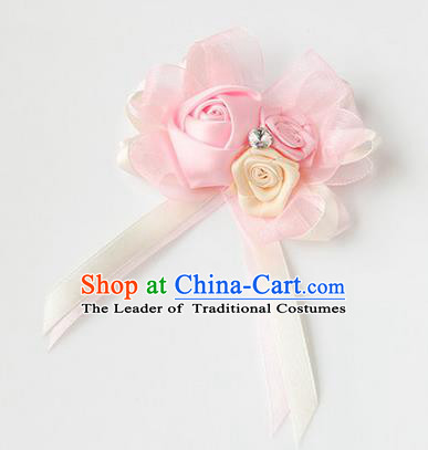 Top Grade Classical Wedding Ribbon Flowers, Bride Emulational Corsage Bridesmaid Light Pink Bowknot Brooch Flowers for Women