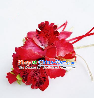 Top Grade Classical Wedding Red Flowers, Bride Emulational Corsage Bridesmaid Brooch Flowers for Women