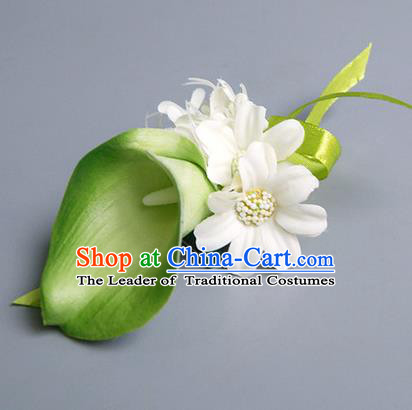 Top Grade Classical Wedding Green Silk Common Callalily Flowers,Groom Emulational Corsage Groomsman Brooch Flowers for Men