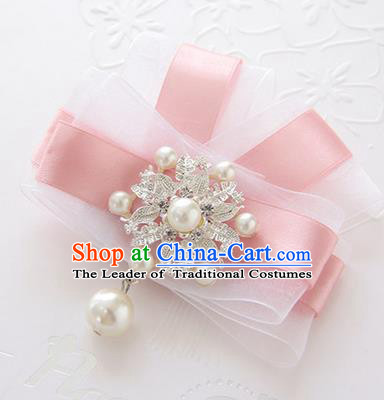 Top Grade Classical Wedding Pink Silk Flowers, Bride Emulational Corsage Bridesmaid Bowknot Brooch Flowers for Women