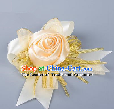 Top Grade Classical Wedding Champagne Silk Rose Flowers, Bride Emulational Corsage Bridesmaid Bowknot Ribbon Brooch Flowers for Women