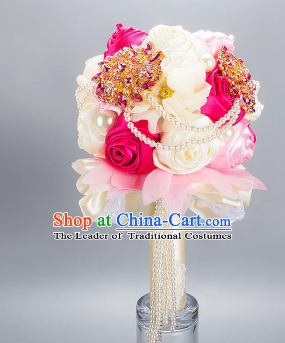Top Grade Classical Wedding Ribbons Silk Flowers, Bride Holding Emulational Crystal Flowers Ball, Hand Tied Bouquet Beads Flowers for Women