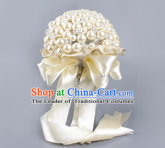 Top Grade Classical Wedding Bride White Ribbon Holding Emulational Crystal Flowers Ball, Hand Tied Bouquet Pearls Flowers for Women