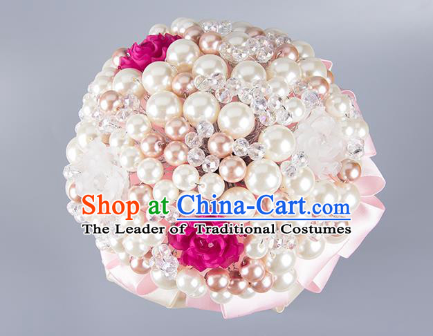 Top Grade Classical Wedding Bride Pink Ribbon Holding Emulational Crystal Flowers Ball, Hand Tied Bouquet Pearls Flowers for Women