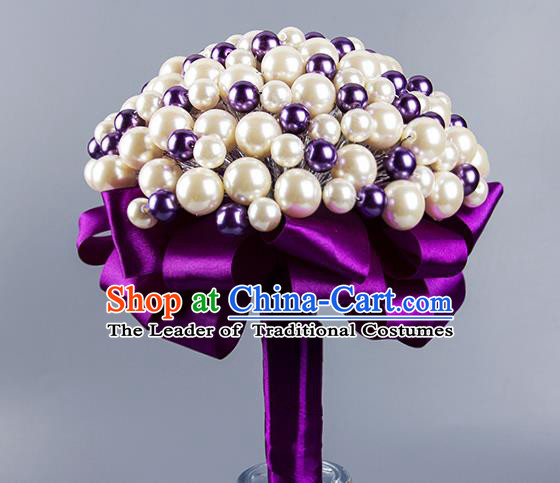 Top Grade Classical Wedding Bride Purple Ribbon Holding Emulational Crystal Flowers Ball, Hand Tied Bouquet Pearls Flowers for Women