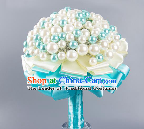 Top Grade Classical Wedding Bride Blue Ribbon Holding Emulational Crystal Flowers Ball, Hand Tied Bouquet Pearls Flowers for Women
