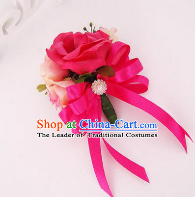 Top Grade Classical Wedding Rosy Silk Flowers, Bride Emulational Corsage Bridesmaid Brooch Flowers for Women