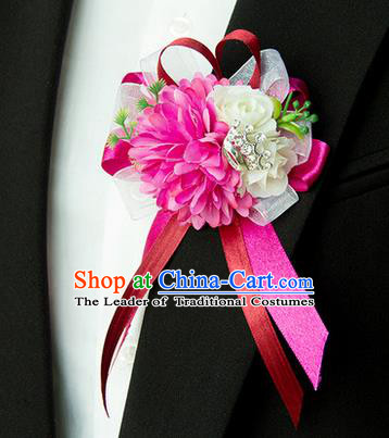Top Grade Classical Wedding Silk Flowers,Groom Emulational Corsage Groomsman Rosy Brooch Flowers for Men