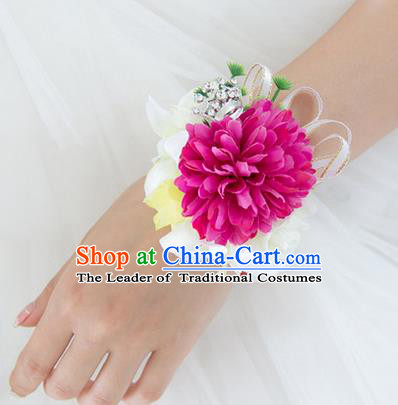 Top Grade Classical Wedding Silk Flowers, Bride Emulational Wrist Flowers Bridesmaid Bracelet Rosy Flowers for Women