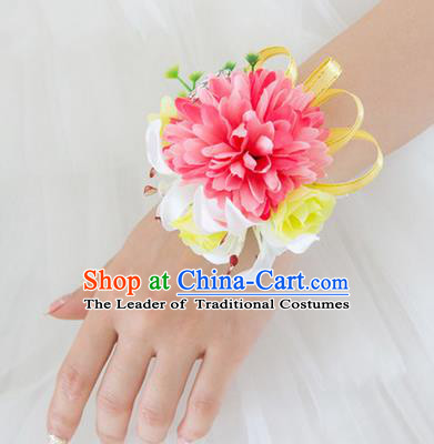 Top Grade Classical Wedding Silk Flowers, Bride Emulational Wrist Flowers Bridesmaid Bracelet Watermelon Red Flowers for Women