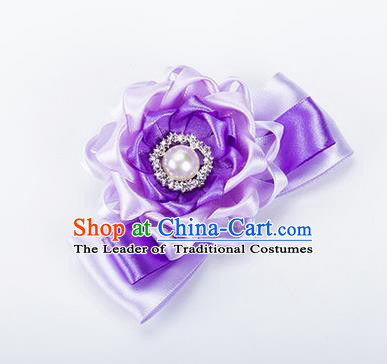 Top Grade Classical Wedding Lilac Ribbon Silk Bangle Flowers, Bride Emulational Wrist Flowers Bridesmaid Bracelet Pearl Flowers for Women