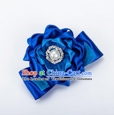 Top Grade Classical Wedding Royalblue Ribbon Silk Bangle Flowers, Bride Emulational Wrist Flowers Bridesmaid Bracelet Pearl Flowers for Women