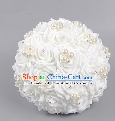 Top Grade Classical Wedding White Silk Rose Flowers, Bride Holding Emulational Flowers, Hand Tied Bouquet Pearl Flowers for Women