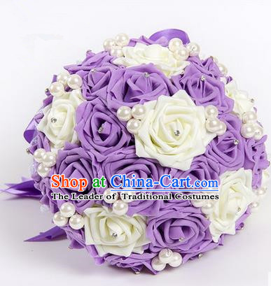 Top Grade Classical Wedding White and Purple Silk Rose Flowers, Bride Holding Emulational Flowers, Hand Tied Bouquet Pearl Flowers for Women