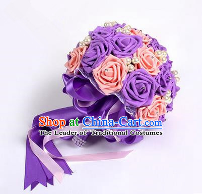 Top Grade Classical Wedding Pink and Purple Silk Rose Flowers, Bride Holding Emulational Flowers, Hand Tied Bouquet Pearl Flowers for Women