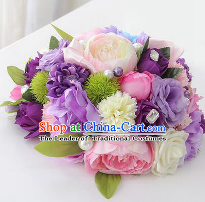 Top Grade Classical Wedding Purple Flowers, Bride Holding Emulational Flowers, Hand Tied Bouquet Flowers for Women