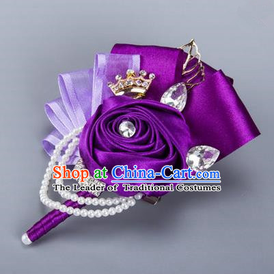 Top Grade Classical Wedding Purple Ribbon Flowers, Bride Emulational Corsage Bridesmaid Crystal Brooch Flowers for Women