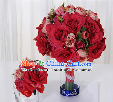 Top Grade Classical Wedding Red Silk Flowers, Bride Holding Emulational Flowers, Hand Tied Bouquet Flowers Brooch Flowers Wrist Flowers for Women