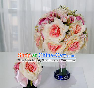 Top Grade Classical Wedding Pink Silk Flowers, Bride Holding Emulational Flowers, Hand Tied Bouquet Flowers Brooch Flowers Wrist Flowers for Women