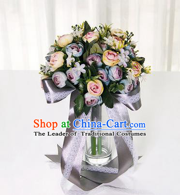 Top Grade Classical Wedding Grey Ribbon Silk Flowers, Bride Holding Emulational Flowers, Hand Tied Bouquet Flowers for Women