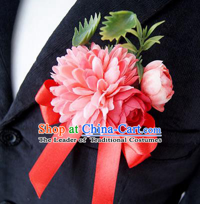Top Grade Classical Wedding Silk Flowers,Groom Emulational Corsage Groomsman Red Ribbon Brooch Flowers for Men