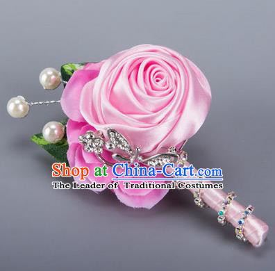 Top Grade Classical Wedding Crystal Silk Flowers,Groom Emulational Corsage Groomsman Pink Ribbon Pearl Brooch Flowers for Men