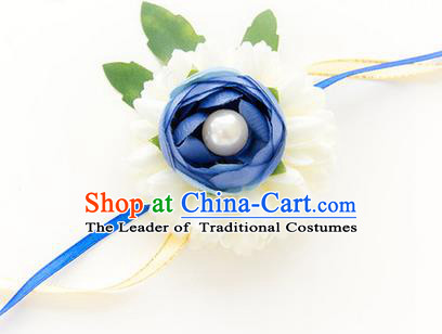 Top Grade Classical Wedding White and Blue Silk Flowers, Bride Emulational Wrist Flowers Bridesmaid Pearl Bracelet Flowers for Women
