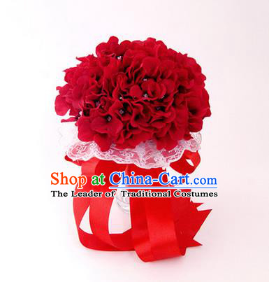 Top Grade Classical Wedding Silk Flowers, Bride Holding Emulational Red Flowers Ball, Hand Tied Bouquet Flowers for Women