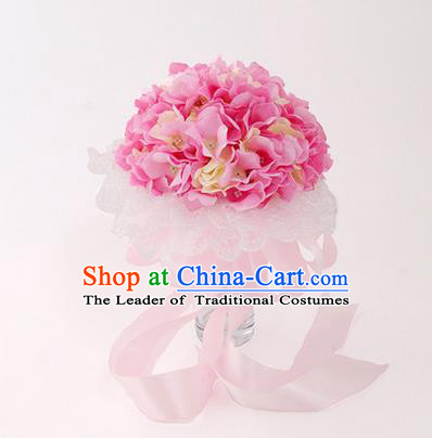 Top Grade Classical Wedding Silk Flowers, Bride Holding Emulational Pink Flowers Ball, Hand Tied Bouquet Flowers for Women