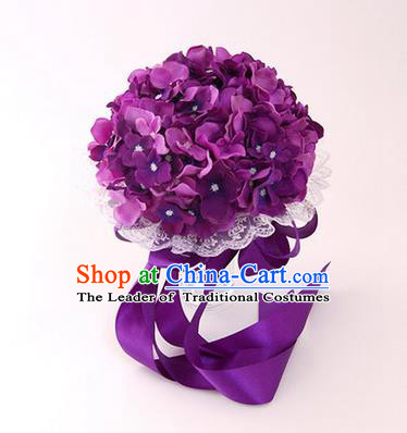 Top Grade Classical Wedding Silk Flowers, Bride Holding Emulational Purple Flowers Ball, Hand Tied Bouquet Flowers for Women