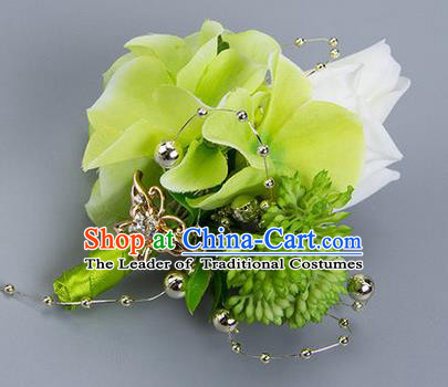 Top Grade Classical Wedding White Silk Flowers Brooch,Groom Emulational Corsage Groomsman Brooch Flowers for Men