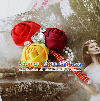 Top Grade Classical Wedding Red Ribbon Flowers Brooch,Groom Emulational Corsage Groomsman Crystal Brooch Flowers for Men