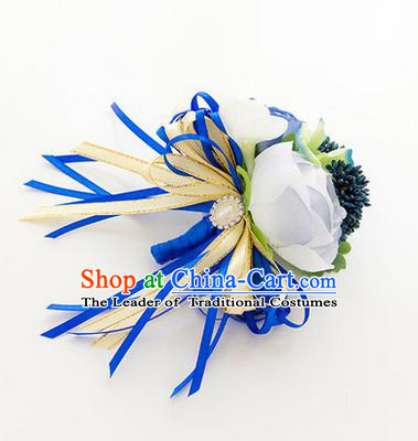 Top Grade Classical Wedding Blue Corsage Brooch, Groom Emulational Corsage Groomsman Brooch Flowers for Men