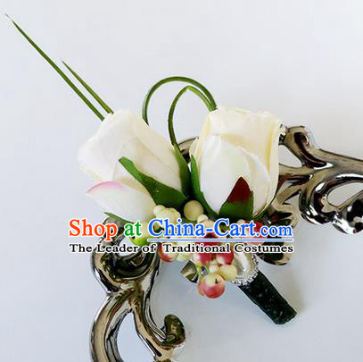 Top Grade Classical Wedding Beige Roses Corsage Brooch, Groom Emulational Corsage Groomsman Brooch Flowers for Men