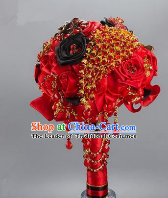 Top Grade Classical China Wedding Red Silk Flowers, Bride Holding Crystal Emulational Flowers Ball, Tassel Hand Tied Bouquet Flowers for Women