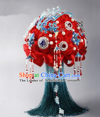 Top Grade Classical China Wedding Peking Opera Red Silk Flowers, Bride Holding Crystal Emulational Phoenix Flowers Ball, Tassel Hand Tied Bouquet Flowers for Women
