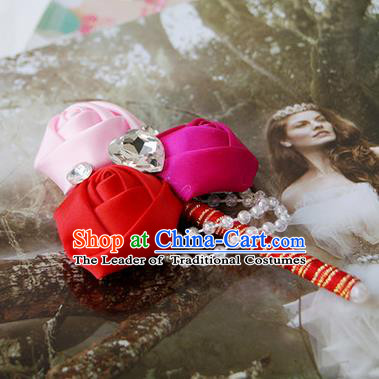 Top Grade Classical Wedding Pink and Rosy Red Ribbon Flowers Brooch,Groom Emulational Corsage Groomsman Crystal Brooch Flowers for Men