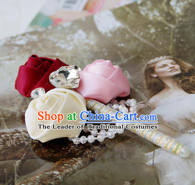 Top Grade Classical Wedding Pink and White Red Ribbon Flowers Brooch,Groom Emulational Corsage Groomsman Crystal Brooch Flowers for Men