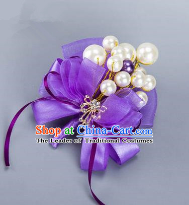 Top Grade Classical Wedding Purple Ribbon Brooch, Bride Emulational Corsage Bridesmaid Pearl Brooch Flowers for Women
