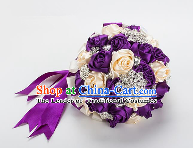 Top Grade Classical China Wedding Extravagant Chinese Knot Purple Rose Flowers Nosegay, Bride Holding Luxury Crystal Flowers Ball Hand Tied Bouquet Flowers for Women