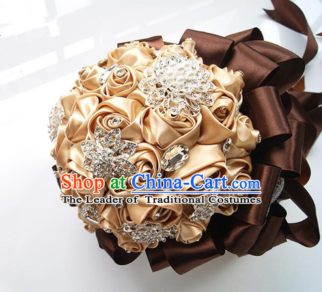 Top Grade Classical Wedding Coffee Ribbon Corsage Brooch, Bride Emulational Corsage Bridemaid Brooch Flowers for Women
