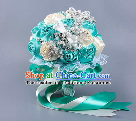 Top Grade Classical Wedding Blue Ribbon Silk Flowers, Bride Holding Emulational Flowers Ball, Hand Tied Bouquet Flowers for Women
