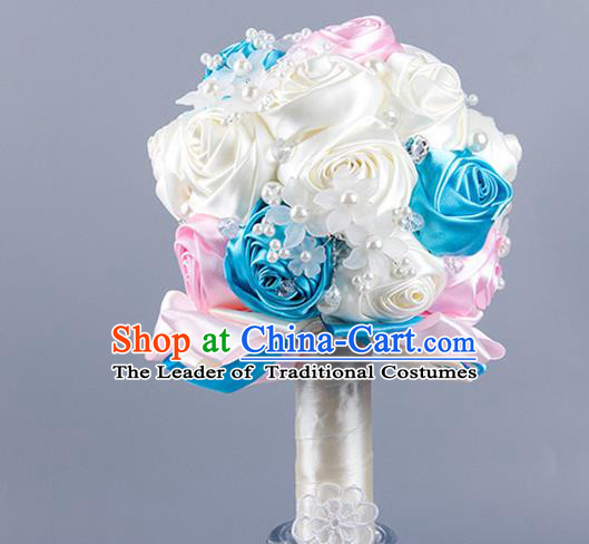 Top Grade Classical Wedding Beige Ribbon Silk Rose Flowers, Bride Holding Emulational Flowers Ball, Hand Tied Bouquet Flowers for Women