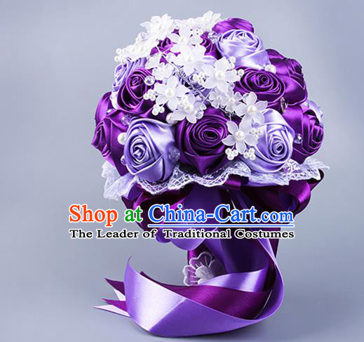 Top Grade Classical Wedding Purple Ribbon Silk Flowers, Bride Holding Emulational Flowers Ball, Hand Tied Bouquet Flowers for Women