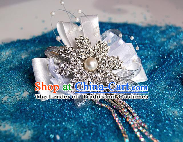 Top Grade Classical Wedding Crystal Flowers, Bride Emulational Wrist Flowers Tassel Bracelet Flowers for Women