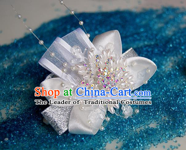Top Grade Classical Wedding Pearl Flowers, Bridemaid Emulational Wrist Flowers Bracelet Flowers for Women