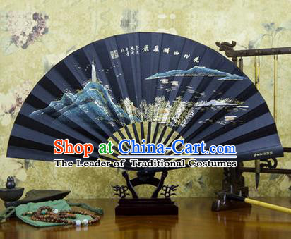Traditional Chinese Crafts Ebonize Folding Fan, China Sensu Landscape Painting Calligraphy Silk Fan Hanfu Fans for Men