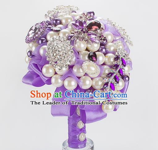 Top Grade Classical Wedding Bride Purple Ribbon Flowers Holding Emulational Flowers Ball, Crystal Hand Tied Bouquet Flowers for Women