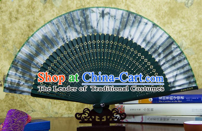 Traditional Chinese Handmade Crafts Green Folding Fan, China Sensu Ink Painting Silk Fan Hanfu Fans for Women